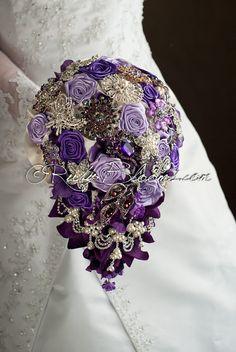 Cascading Silver Purple Wedding brooch bouquet. by Rubybloomscom