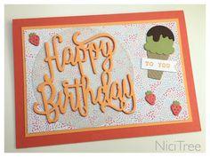 "Stampin Up! Happy Birthday Thinlits, ""Eis, Eis, Baby"", Birthday Card, Geburtstagskarte"