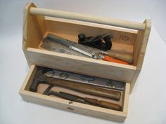 Wood Tool Box / Tool Tote / Handmade from a Wood Crate by Recovered Design This Wood Tool Box is ready to work. MEASUREMENTS 17 long x 8