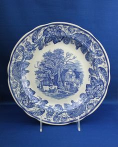 Spode Rural Scenes from The Blue Room Collection Dinner Plate Blue and White Transferware Blue And White China, Blue China, World Of Interiors, Antique China, Antique Dishes, Blue Rooms, Blue Plates, Blue Accents, Country