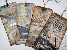 "Tim Holtz - 12 tags of 2013 – august…today's tags is inspired by the three simply words i say often – ""enjoy the journey""…i said tags because i was inspired to make several tags using this month's layered mask technique since we have so many ways to travel – ships, planes, trains, automobiles."