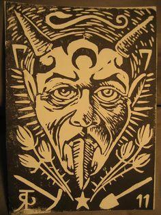 Jarrod Russell linocut print - devil.