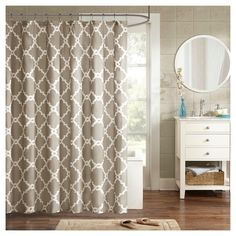 becker printed geometric shower curtain taupe taupe brown
