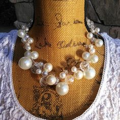 Please Pin if you like this new design! Add this Beauty to your Spring LOOK! Check out my 20% OFF Sale!!!! Use Code: 20OFF Pearl Wedding Statement Necklace, Handmade, Chunky, Bib, Collar, Designer Inspired, Crocheted, Resort Wear Jewelry #bestbeadedbling