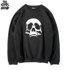 8cb55aa996f66d Cotton blend Thick Fleece warm skull printed o-neck men sweatshirt casual  autumn winter men hoodies. Herren-sweatshirtsKapuzenpullisPunkPullover ...