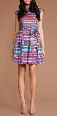 Alana Dress - multicolored, striped silk, cap sleeve