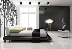Современная спальня с деревом стены настенной росписи