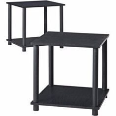 End Table Set Of 2 Modern Side Tables Storage Shelf Living Room Furniture Black  #EndTableSetOf2 #Modern