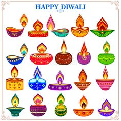 Collection of decorated diya for Happy Diwali holiday. Easy to edit vector illus , Collection of decorated diya for Happy Diwali holiday. Easy to edit vector illus , Diwali Greetings Images, Happy Diwali Wallpapers, Diwali Greeting Cards, Happy Diwali Images, Diy Diwali Cards, Diwali Painting, Diwali Drawing, Rangoli Designs Flower, Colorful Rangoli Designs