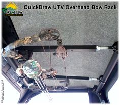 QuickDraw Overhead Bow Rack from Discount Ramps holds bow securely inside roof area of UTV. Bow Rack, Utv Accessories, Quick Draw, Roll Cage, Bow Hunting, Outdoor Life, Archery, Atv, Hold On