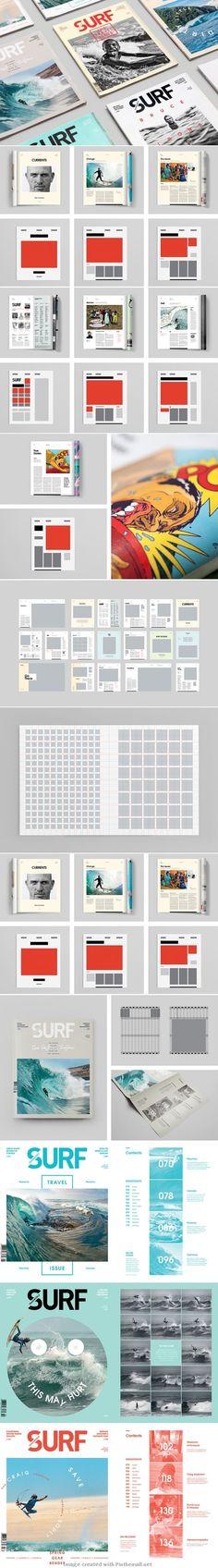 Surf magazine grid layout by Margarita Bernal
