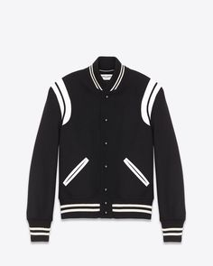 Saint Laurent TEDDY JACKET IN Black Virgin Wool And Off White LEATHER | ysl.com
