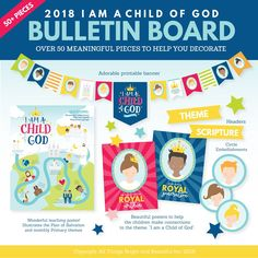 """Save even more by purchasing this Primary bulletin board pack in our 2018 LDS Primary Theme Bundle: I am a Child of God. We have included OVER 50 pieces to help you prepare for the 2018 Primary theme, """"I am a Child of God."""" These bright posters, banners, and embellishments are a wonderful tool to help you decorate your 2018 primary bulletin board. The designs were created to help Primary children make meaningful connections to the 2018 Primary theme, """"I am a Child of God.""""..."""