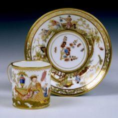 A Hard-Paste Sèvres Chinoiserie Cup & Saucer, circa 1780