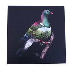9f15b2851 Kereru Wood Pigeon Light Up Art Block Wood Pigeon, Nz Art, Kiwiana,  Watercolours