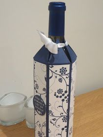 CraftyCarolineCreates: Wine Bottle Gift Box Tutorial - Using Flowering Flourished by Stampin' Up - With good video tutorial Wine Bottle Tags, Wine Bottle Covers, Wine Tags, Bottle Box, Wine Bottle Crafts, Wrapped Wine Bottles, Envelopes, Stampin Up, Diy Gift Box