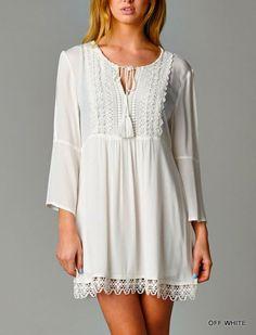 Crochet Tunic Dress Free Gypsy Hippie Fringe Country Boho Mocha Taupe S,M,L #ClothingBucket #Tunic #Casual