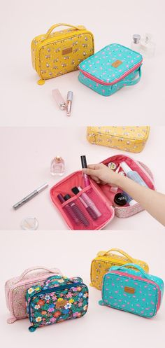 It's an awesome pouch with a spacious compartment to hold many cosmetics and other small items! The colorful exterior and the durability will make you want to carry this whenever and wherever!