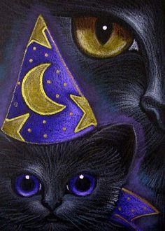 """Black Cat and Kitten Wizard Costume"" par Cyra R. Cancel"