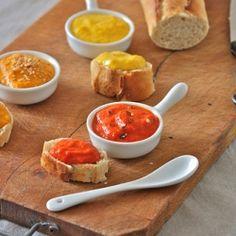 sauces with red, orange and yellow peppers