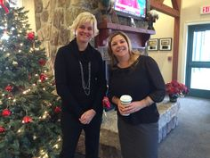 Kristin Perry, ARCC & Kelley Contarino, Align C.U network in front of the warm fireplace.