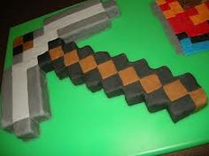 minecraft diamond pickaxe cupcake cake