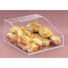 "Cal Mil 123 13"" x 16"" x 7"" Food Bin - Clear Acrylic with Removable Divider"