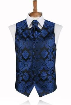 Buy Dobell Blue Victorian Jacquard Waistcoat with FREE delivery and FREE returns Wedding Waistcoats, Wedding Vest, Wedding Suits, Smoking Noir, Wedding Dress Preservation, Gilet Costume, Mode Steampunk, Black Suit Men, Men's Waistcoat