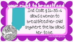 Printable cards with state laws on them regarding breastfeeding! Carry with you in case someone gives you a hard time about breastfeeding in public.