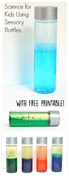 Explore liquid density in this fun science activity for kids using sensory bottles ! Includes a free recording sheet! ~ BuggyandBuddy.com