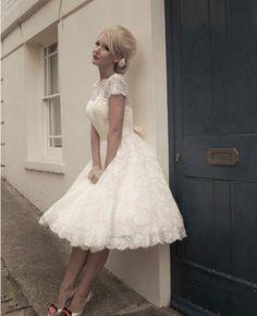 A-Line Tea Length Lace Short Wedding Dress