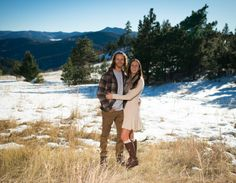 Mount Falcon Park Colorado Engagement Couple In Scenic Snow Covered Fields