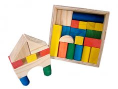Educational Toys 29 piece Coloured Blocks in a Wooden Box Educational Toys, Wooden Boxes, South Africa, Frame, How To Make, Kids, Color, Home Decor, Wood Boxes