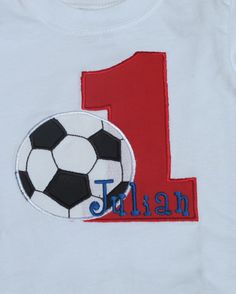 Personalized Embroidered/Appliqued Boy's First Birthday Soccer Shirt. $22.00, via Etsy.