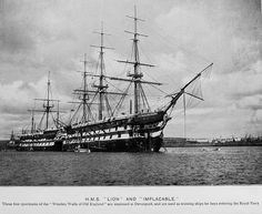 HMS Lion and Implacable re-photographed from a book by J.Welch & Sons Marine Photographers, Portsmouth circa 1899. HMS Lion was a two-deck 80-gun second rate ship of the line of the Royal Navy, launched on 29 July 1847 at Pembroke Dockyard.  In 1871 Lion was activated as a training ship and was sold out of the navy for breaking up in 1905.