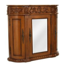 "Chelsea 3 door Mirrored Wall Cabinet, 3 DOORS, ANTIQUE OAK by Home Decorators Collection. $269.00. Fully assembled.. 28""H x 31.5""W x 8.5""D.. Store your toiletries and other essentials in this 3-door wall cabinet. Enjoy the exquisite look of the antique-inspired Chelsea design.Solid wood construction is complemented by finely carved details in this mirrored cabinet. Refresh the look of your bath decor today. Actual size is 3 DOORS"
