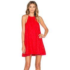 Assali Hydrangea Mini Dress Dresses (4 420 SEK) ❤ liked on Polyvore featuring dresses, red mini dress, red button down dress, red dress, lacy dress and short dresses