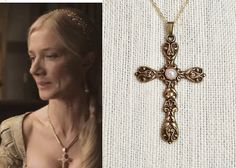Catherine Parr Pearl Cross Necklace-n251 by DBakerJewelry on Etsy