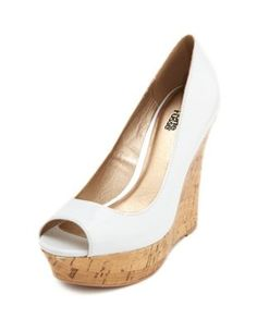 patent peeptoe cork wedge