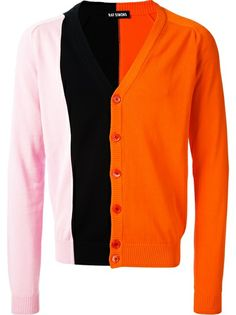 Tri-coloured Cardigan  :  Raf Simons.   Orange, pink and navy blue cotten cardigan.