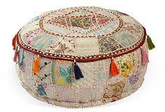 "24"" Round Pouf, Cream on OneKingsLane.com"