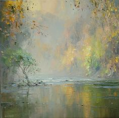'Autumn Mist, Chee Dale' by Rex Preston. Part of his two man exhibition with Mark Preston, opening at gallerytop on 3 October 2015