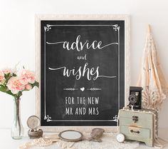 "Free printable chalkboard wedding sign ""Advice and wishes for the new Mr and Mrs"