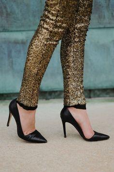Gold sequin leggings.