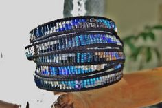 COSMOS 5 Wrap Black Leather Bracelet by BraceletsofBlueRidge, $115.00