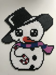 Very Coool Snowman Hama Beads Design, Hama Beads Patterns, Beading Patterns, Pearler Beads, Fuse Beads, Christmas Animals, 1st Christmas, Christmas Perler Beads, Beaded Banners