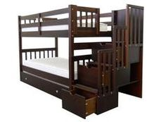 Bunk Beds Twin over Twin Stairway Cappuccino + Trundle