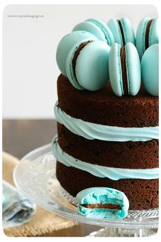 Tarta chocolate + mac azul