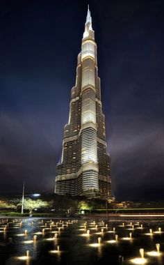 The Night Lights Of World's Tallest Building, Burj Khalifa, Dubai