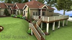 This exterior rendering of a woodland home on a sloped lot illustrates a raised deck with L-shaped stair to the hillside below.